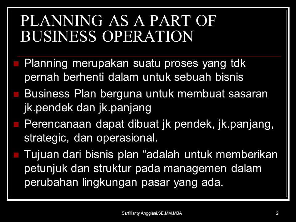 PLANNING AS A PART OF BUSINESS OPERATION