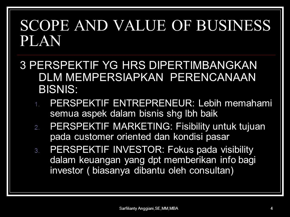 SCOPE AND VALUE OF BUSINESS PLAN
