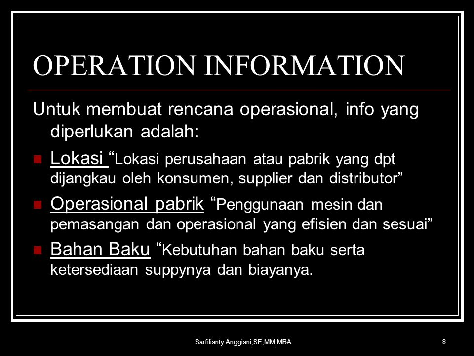 OPERATION INFORMATION