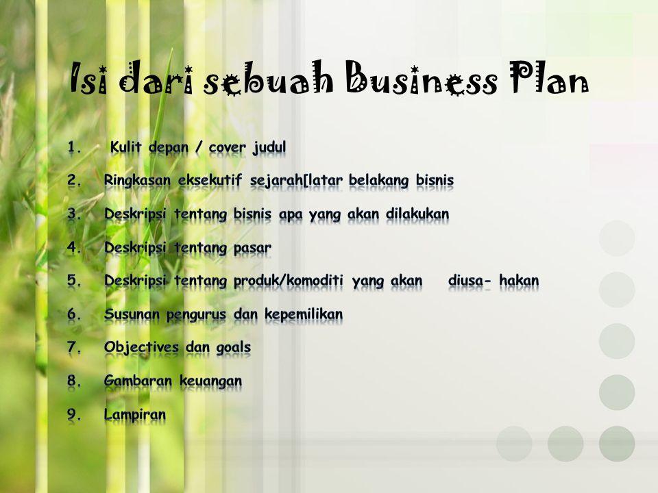 Isi dari sebuah Business Plan