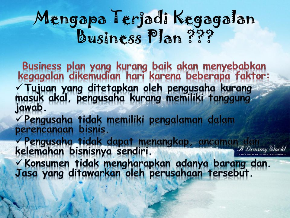 Mengapa Terjadi Kegagalan Business Plan