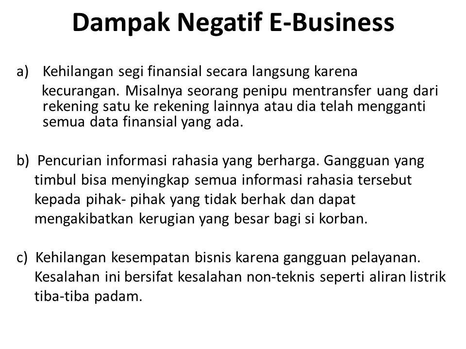 Dampak Negatif E-Business