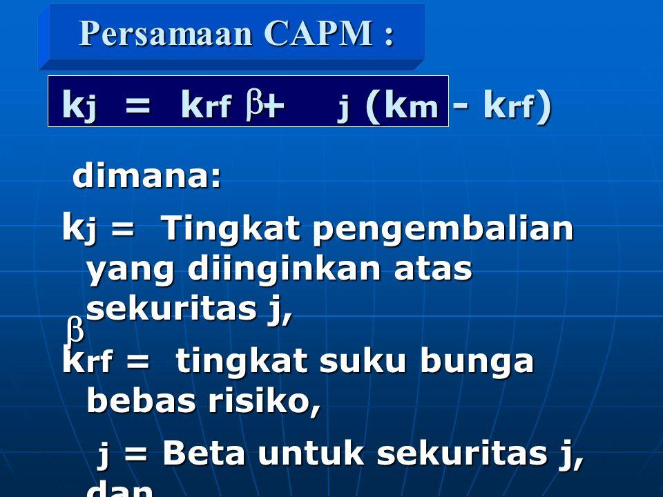 kj = Tingkat pengembalian yang diinginkan atas sekuritas j,