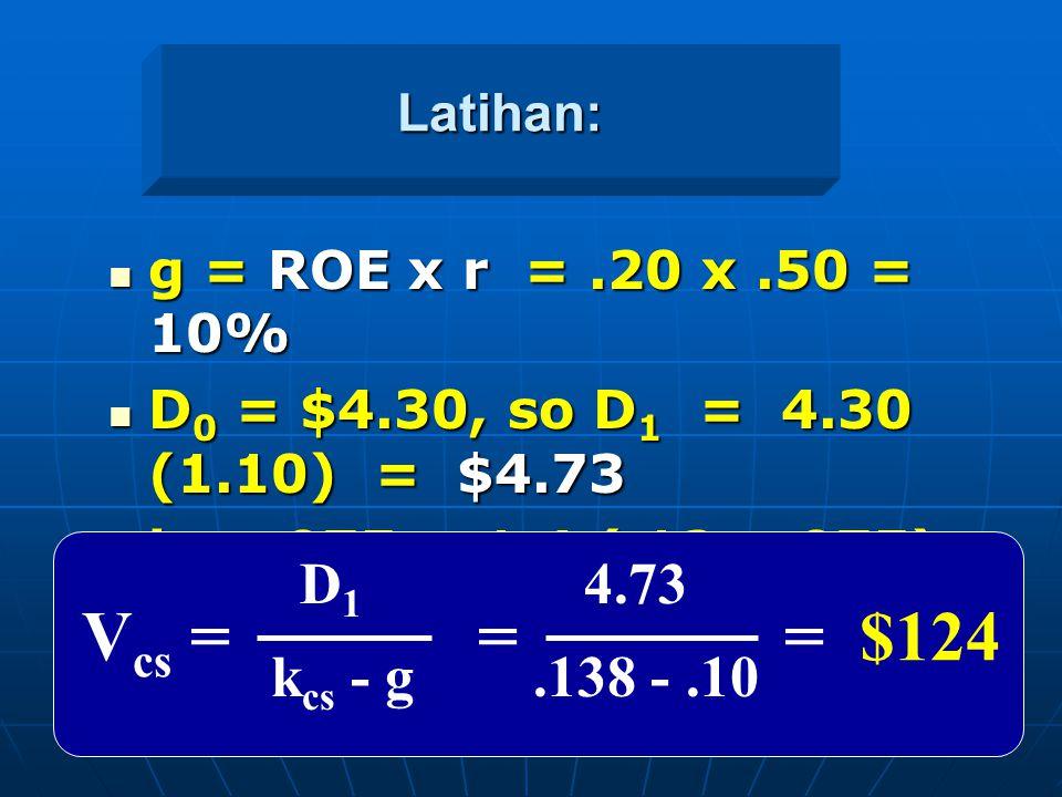 Vcs = = = $124 D1 4.73 kcs - g .138 - .10 Latihan: