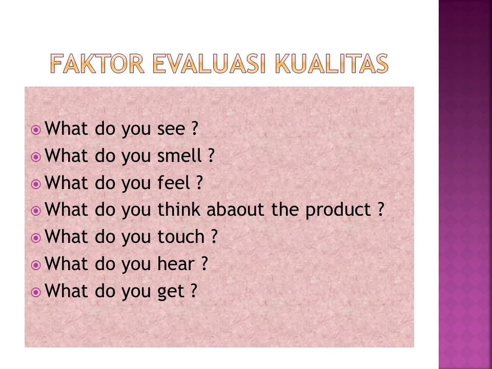Faktor evaluasi kualitas
