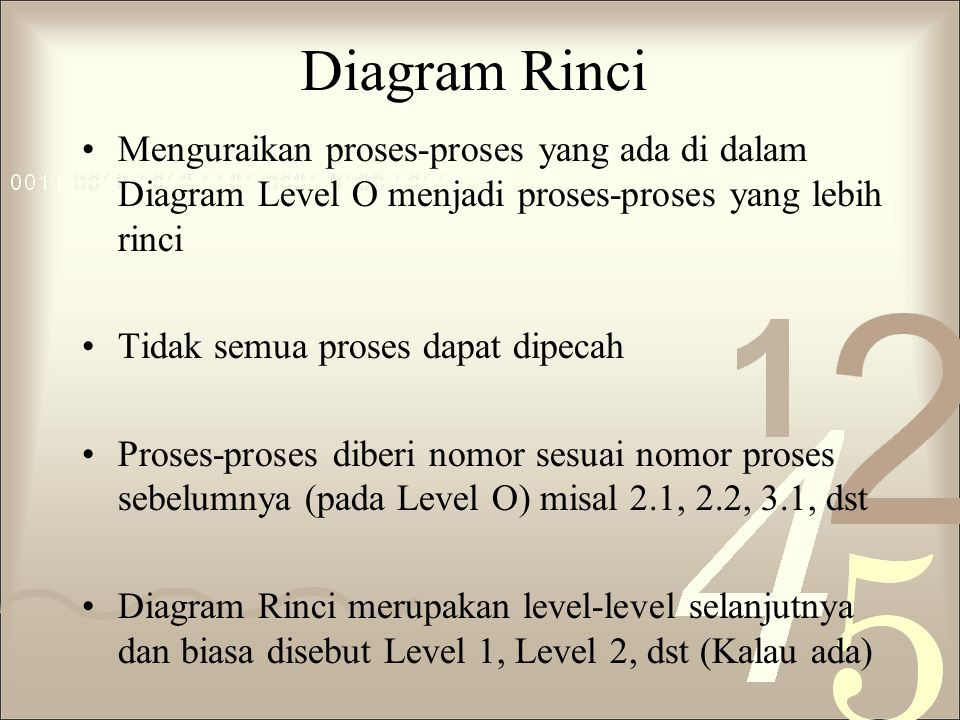Diagram Rinci Menguraikan proses-proses yang ada di dalam Diagram Level O menjadi proses-proses yang lebih rinci.