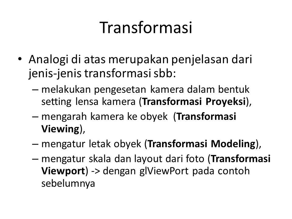 Transformasi Analogi di atas merupakan penjelasan dari jenis-jenis transformasi sbb: