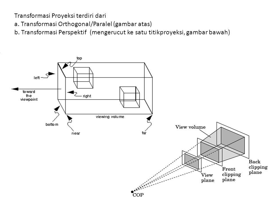 Transformasi Proyeksi terdiri dari a