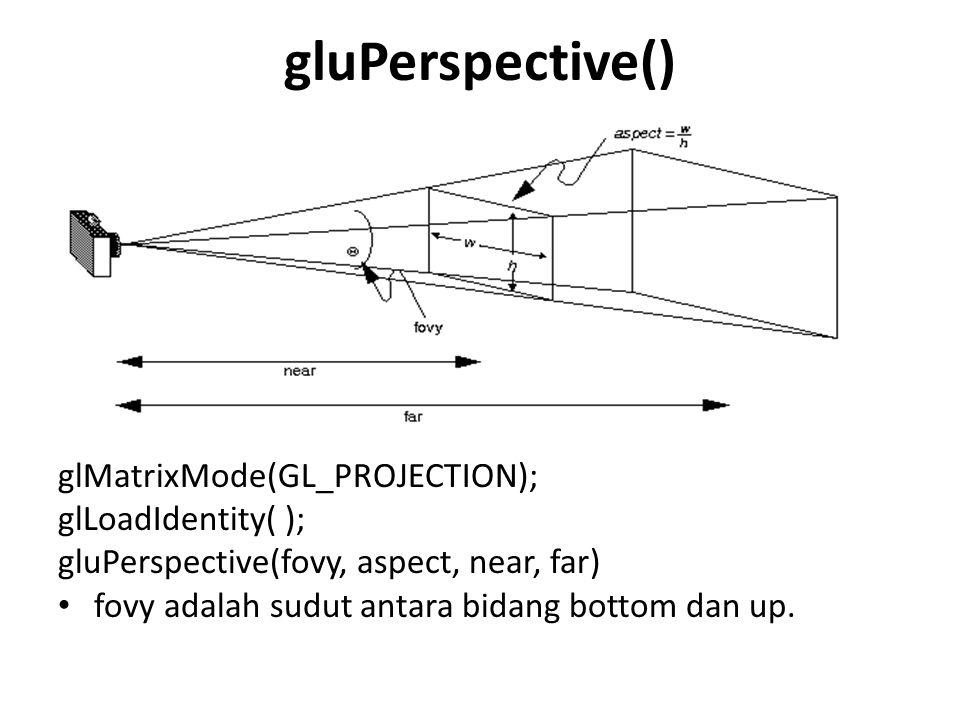 gluPerspective() glMatrixMode(GL_PROJECTION); glLoadIdentity( );