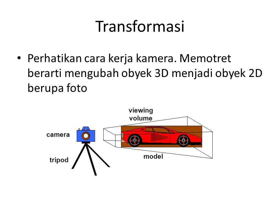 Transformasi Perhatikan cara kerja kamera. Memotret berarti mengubah obyek 3D menjadi obyek 2D berupa foto.