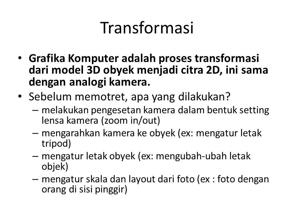 Transformasi Grafika Komputer adalah proses transformasi dari model 3D obyek menjadi citra 2D, ini sama dengan analogi kamera.