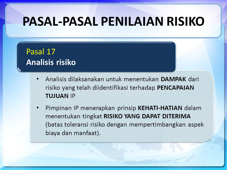 PASAL-PASAL PENILAIAN RISIKO