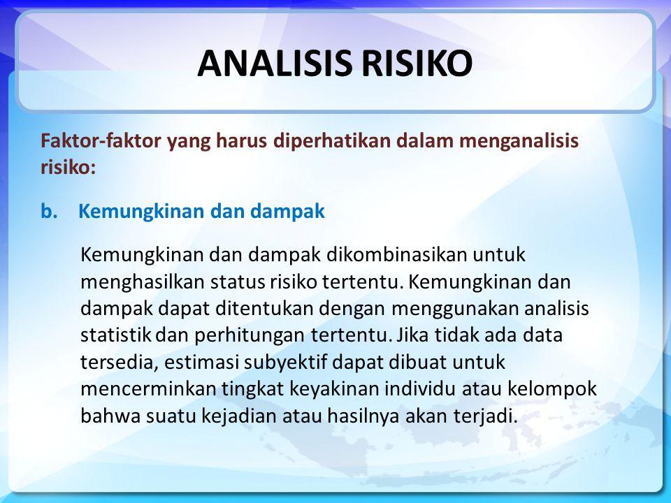 ANALISIS RISIKO Faktor-faktor yang harus diperhatikan dalam menganalisis risiko: Kemungkinan dan dampak.