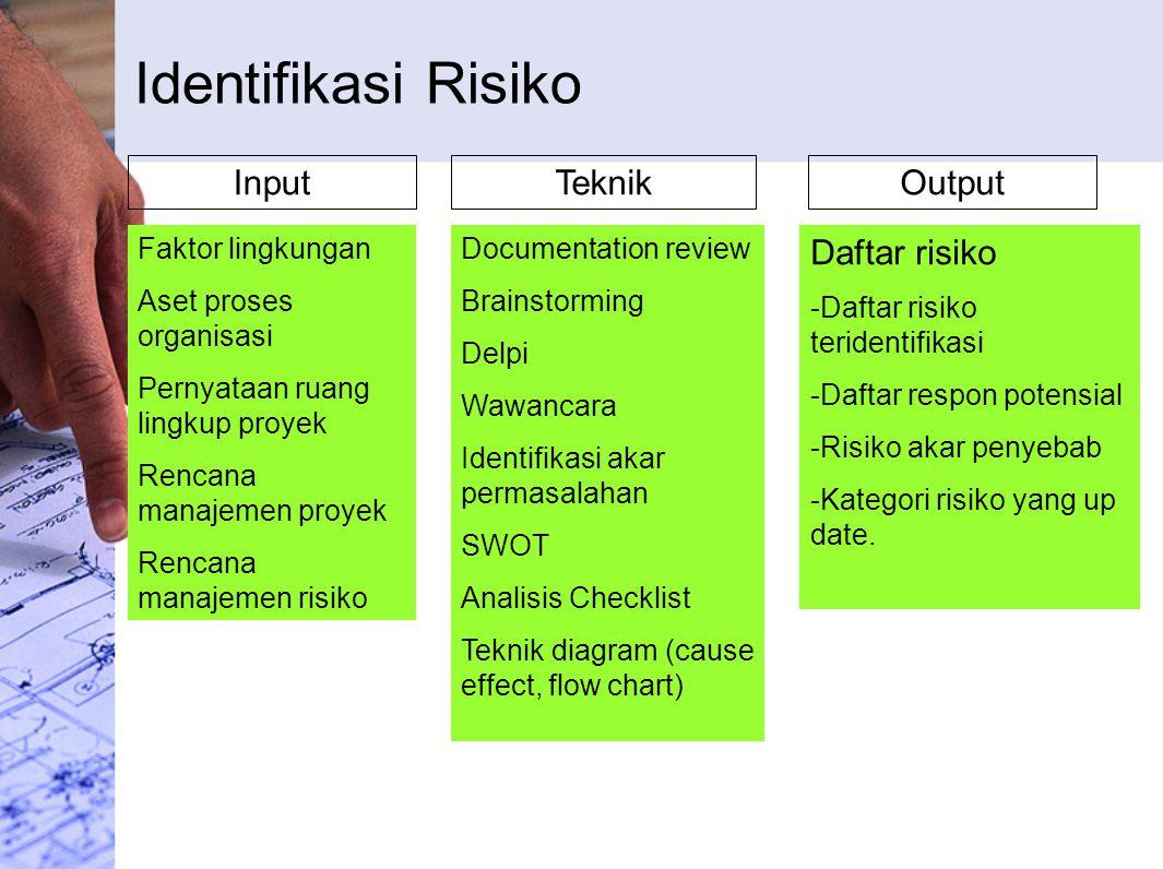 Identifikasi Risiko Input Teknik Output Daftar risiko