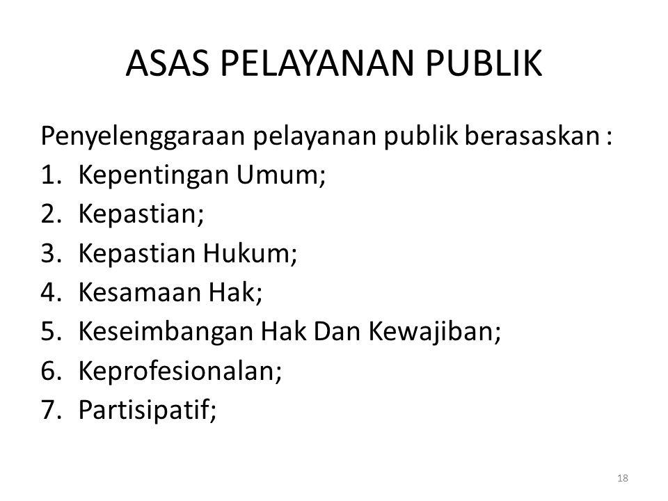 ASAS PELAYANAN PUBLIK Penyelenggaraan pelayanan publik berasaskan :