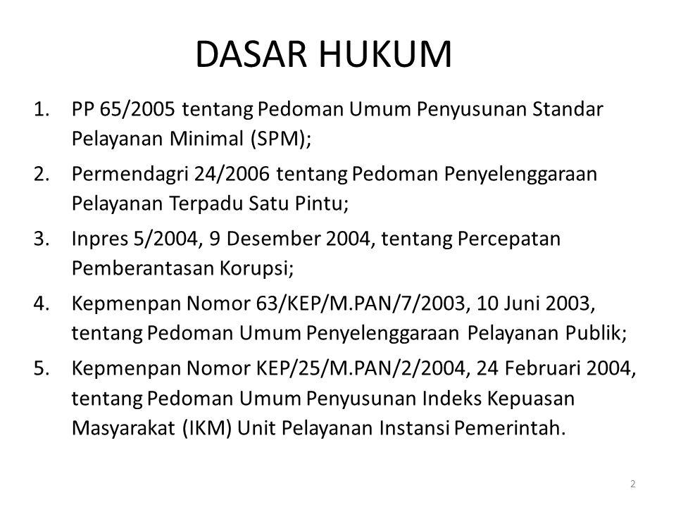 DASAR HUKUM PP 65/2005 tentang Pedoman Umum Penyusunan Standar Pelayanan Minimal (SPM);