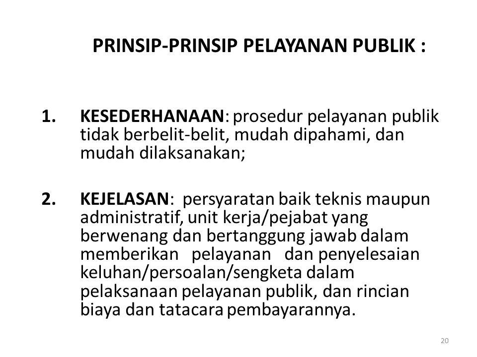 PRINSIP-PRINSIP PELAYANAN PUBLIK :