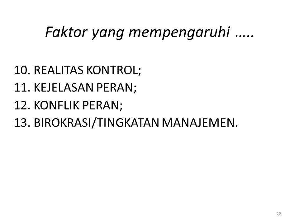 Faktor yang mempengaruhi …..