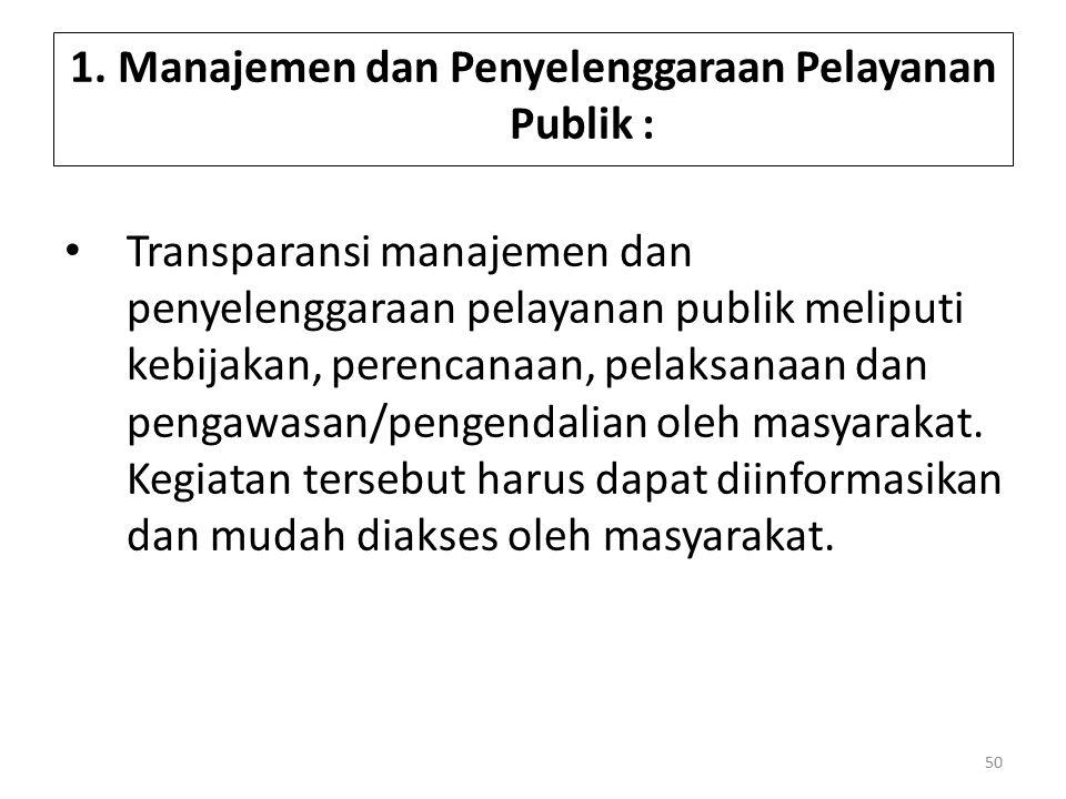 1. Manajemen dan Penyelenggaraan Pelayanan Publik :