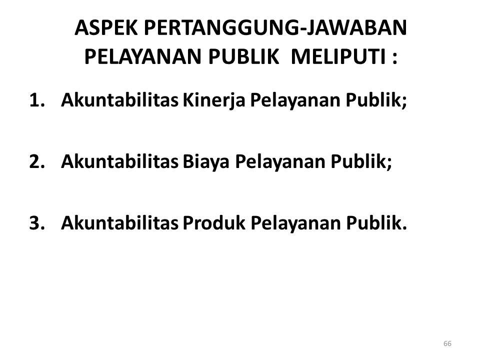 ASPEK PERTANGGUNG-JAWABAN PELAYANAN PUBLIK MELIPUTI :