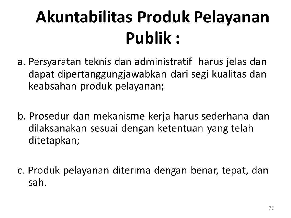 Akuntabilitas Produk Pelayanan Publik :