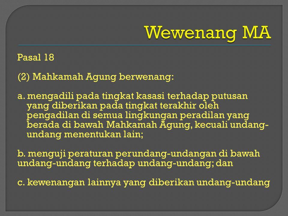 Wewenang MA Pasal 18 (2) Mahkamah Agung berwenang: