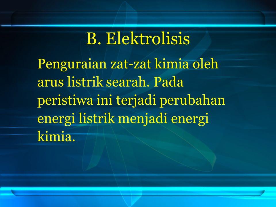 B. Elektrolisis Penguraian zat-zat kimia oleh
