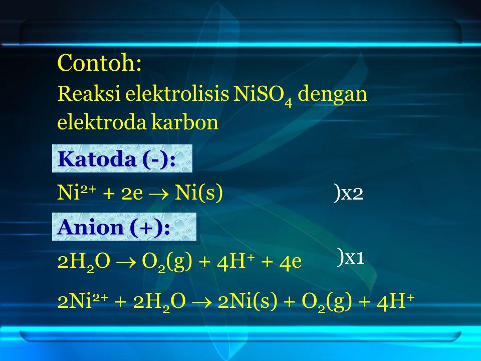 Contoh: Reaksi elektrolisis NiSO4 dengan elektroda karbon Katoda (-):