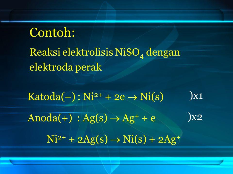 Contoh: Reaksi elektrolisis NiSO4 dengan elektroda perak )x1