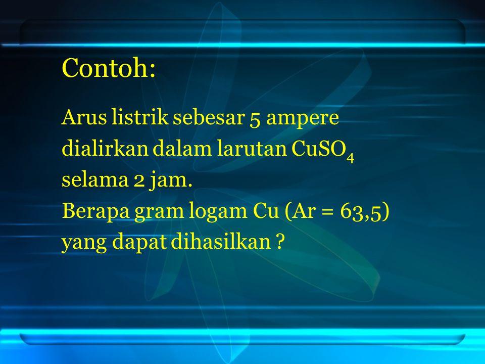 Contoh: Arus listrik sebesar 5 ampere dialirkan dalam larutan CuSO4