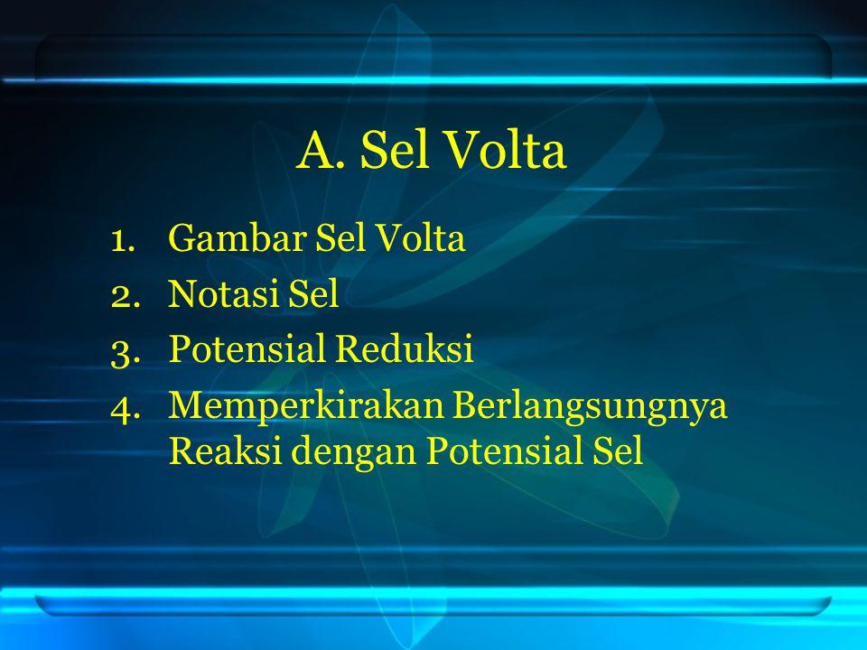 A. Sel Volta Gambar Sel Volta Notasi Sel Potensial Reduksi