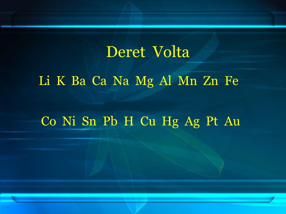 Deret Volta Li K Ba Ca Na Mg Al Mn Zn Fe Co Ni Sn Pb H Cu Hg Ag Pt Au