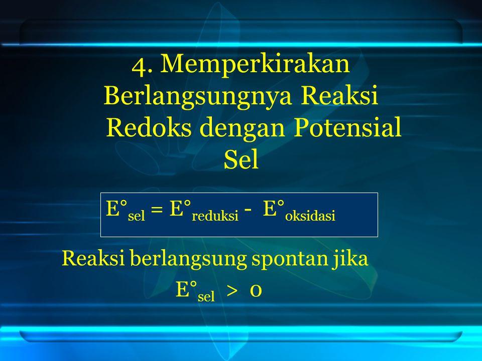 4. Memperkirakan Berlangsungnya Reaksi Redoks dengan Potensial Sel