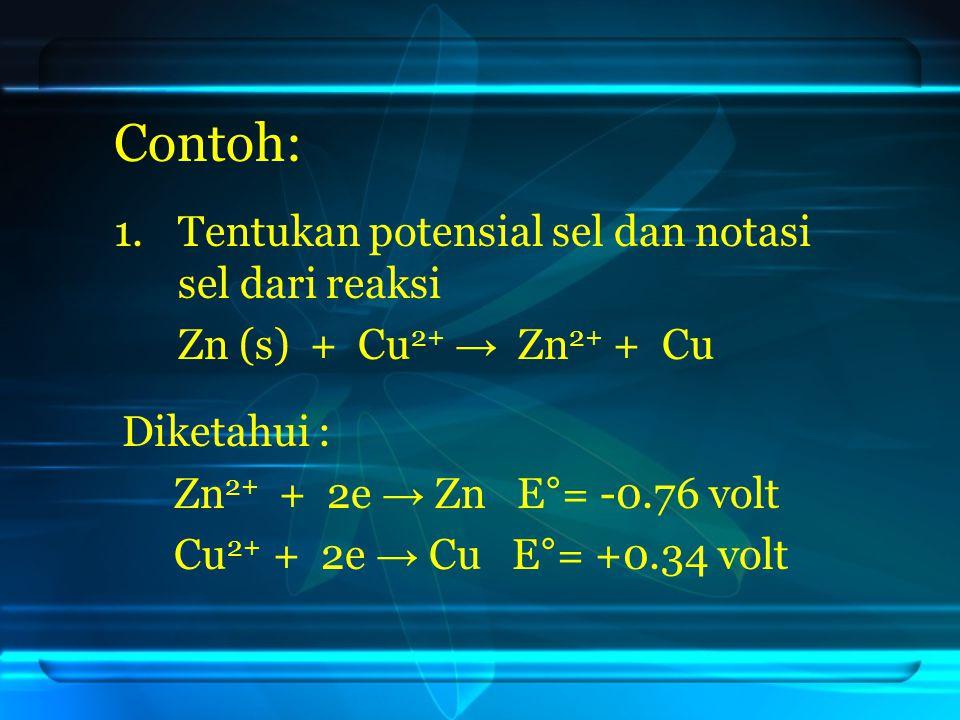 Contoh: Tentukan potensial sel dan notasi sel dari reaksi