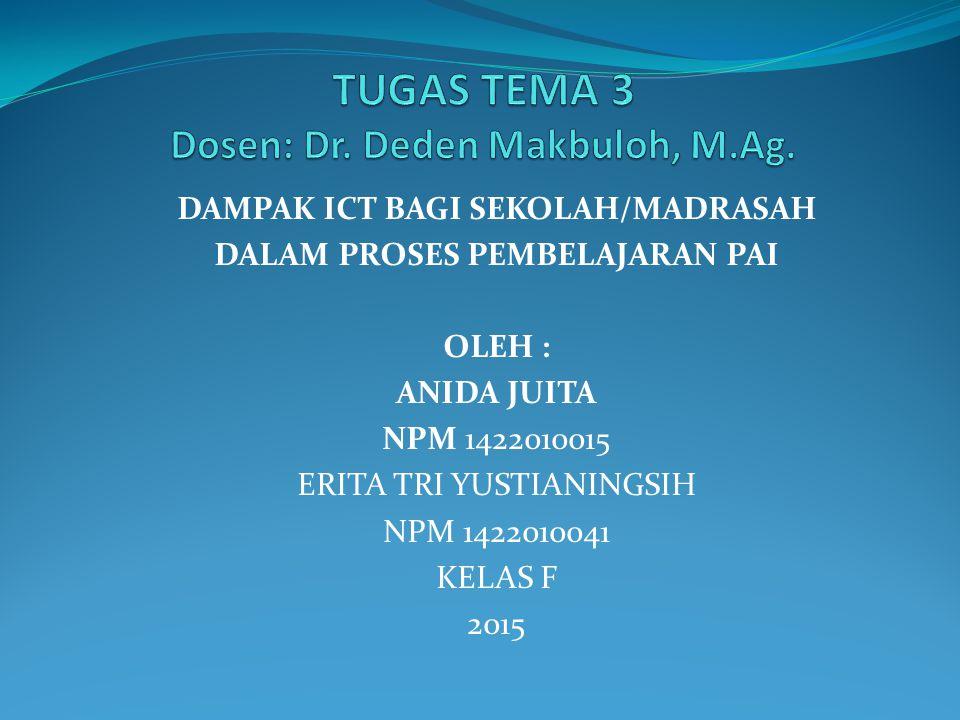 TUGAS TEMA 3 Dosen: Dr. Deden Makbuloh, M.Ag.