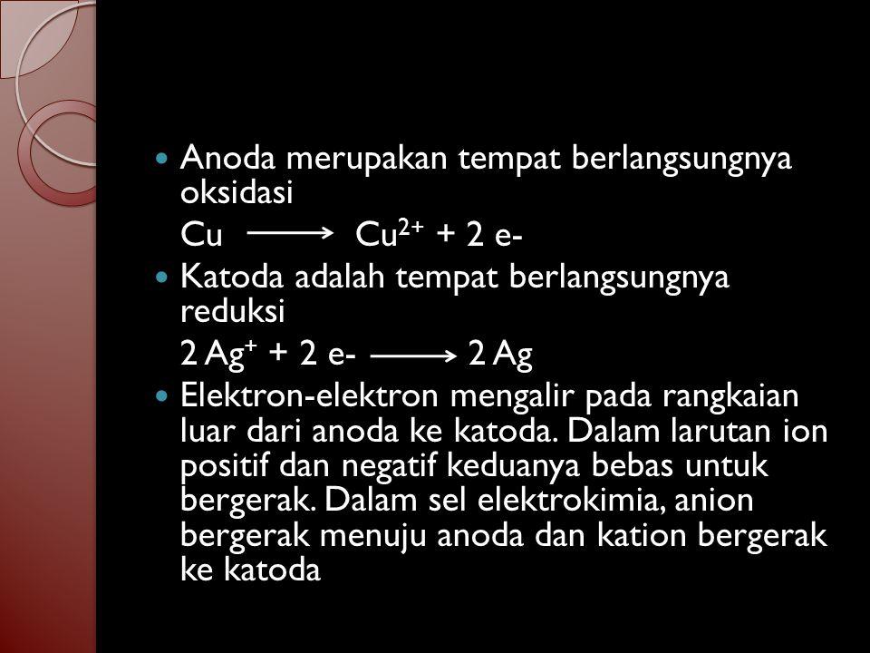 Anoda merupakan tempat berlangsungnya oksidasi