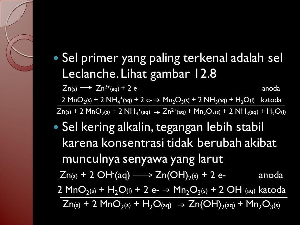 Sel primer yang paling terkenal adalah sel Leclanche. Lihat gambar 12