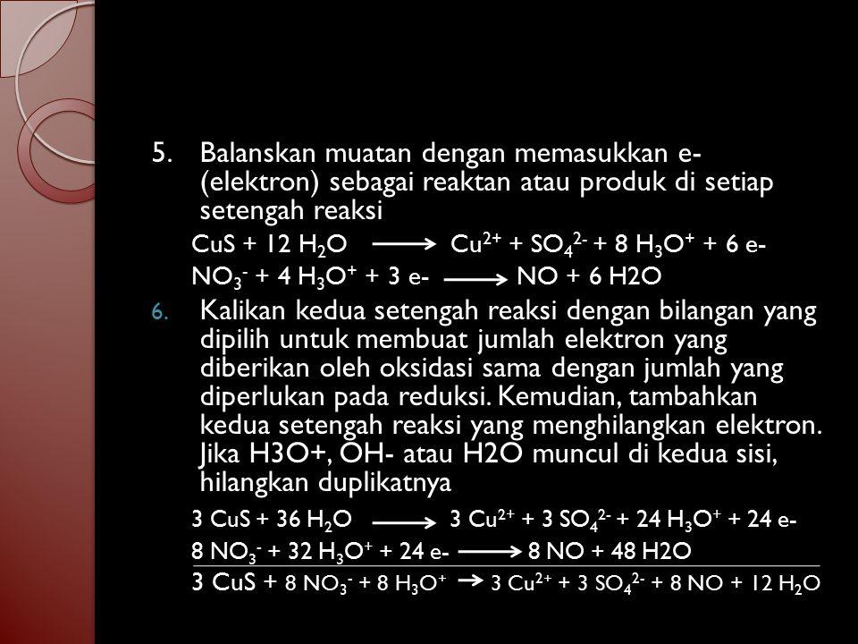 3 CuS + 36 H2O 3 Cu2+ + 3 SO42- + 24 H3O+ + 24 e-