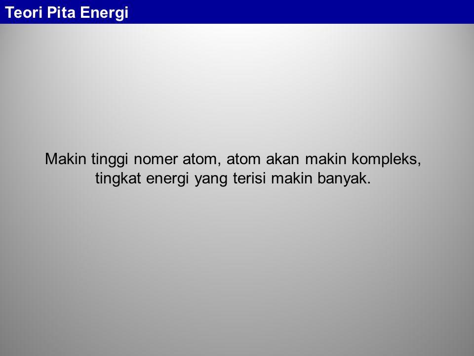 Teori Pita Energi Makin tinggi nomer atom, atom akan makin kompleks, tingkat energi yang terisi makin banyak.