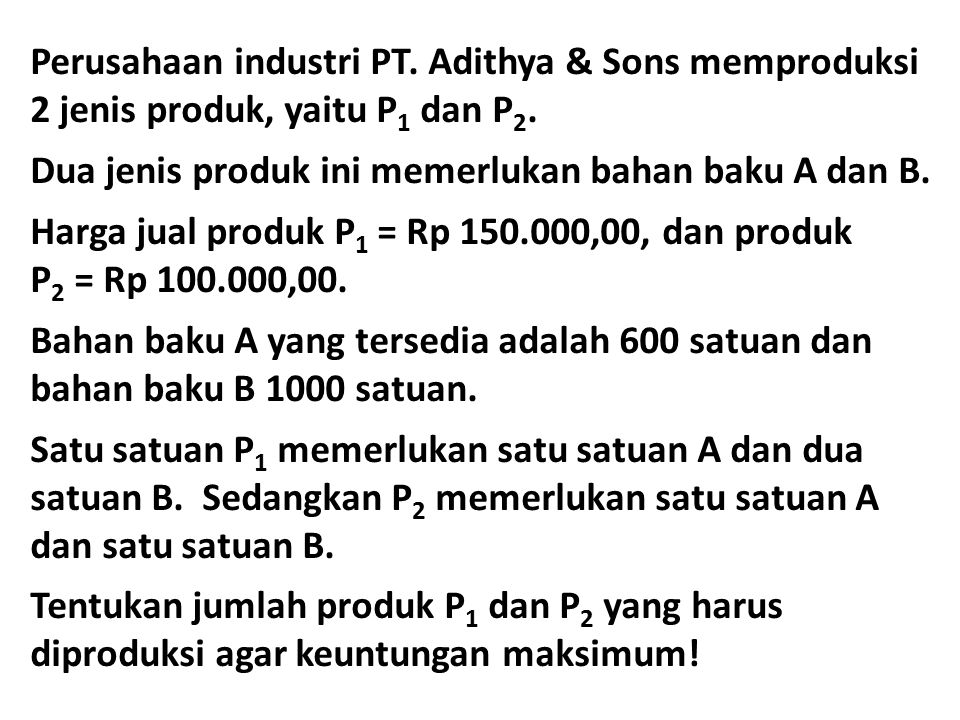 Perusahaan industri PT. Adithya & Sons memproduksi