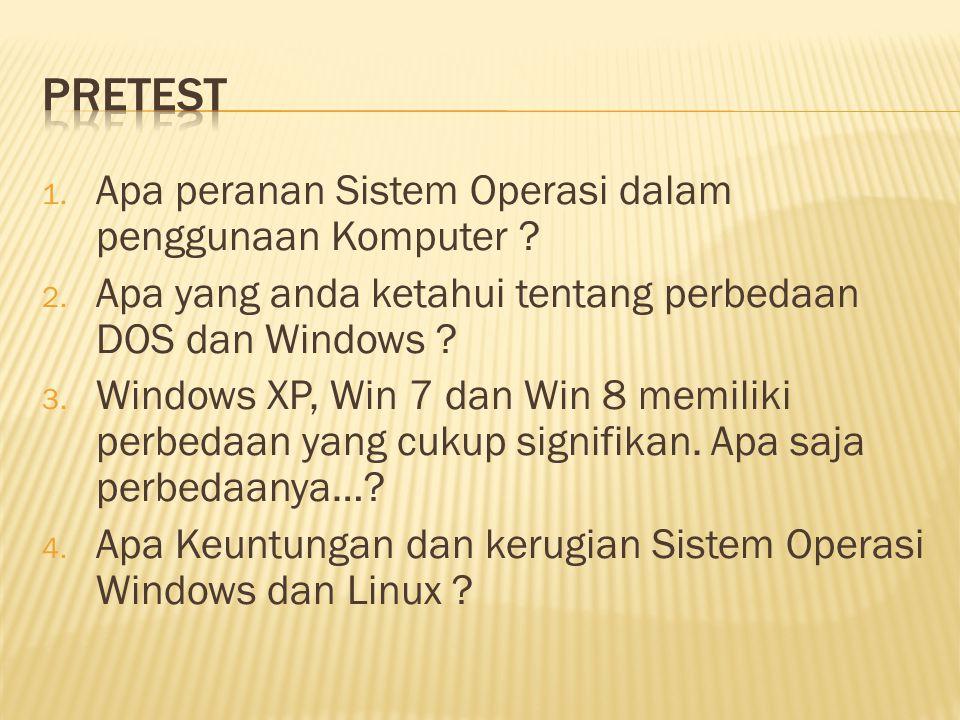 Pretest Apa peranan Sistem Operasi dalam penggunaan Komputer