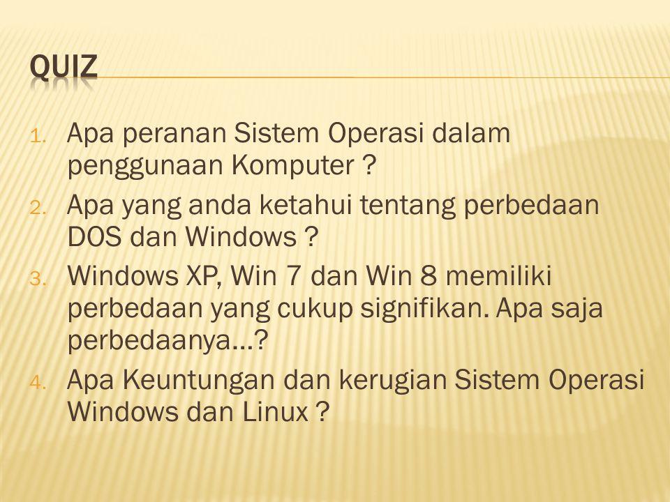 Quiz Apa peranan Sistem Operasi dalam penggunaan Komputer