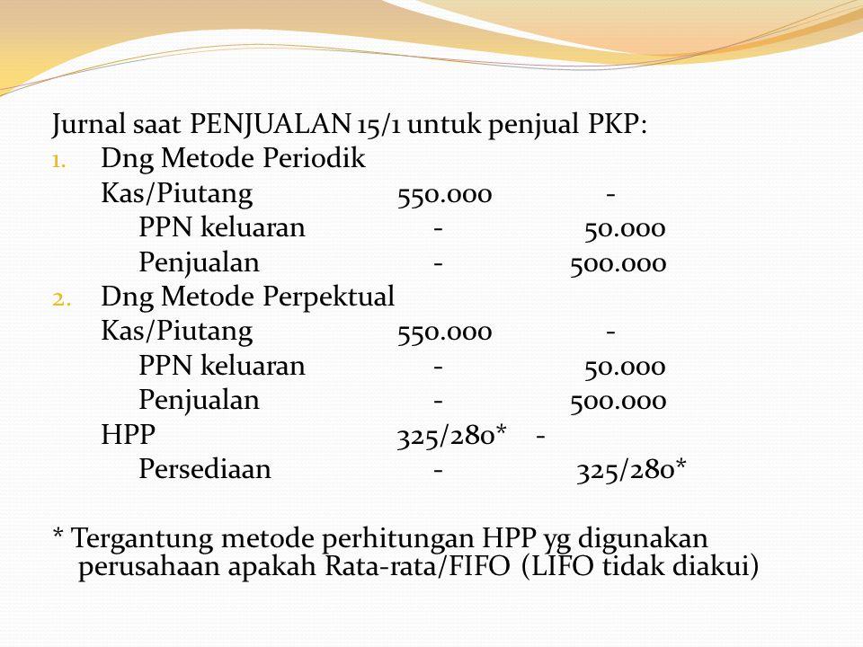 Jurnal saat PENJUALAN 15/1 untuk penjual PKP: