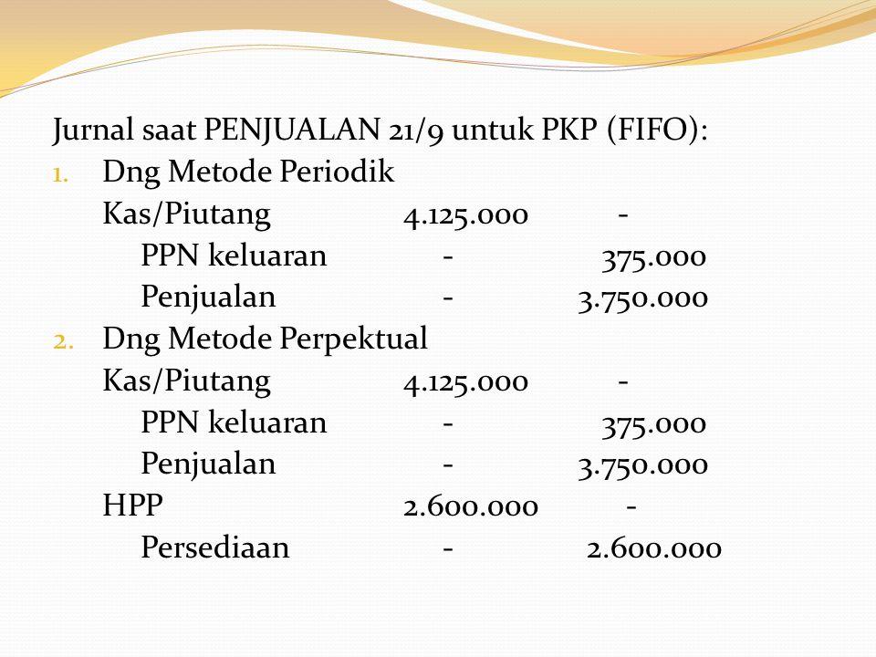 Jurnal saat PENJUALAN 21/9 untuk PKP (FIFO):