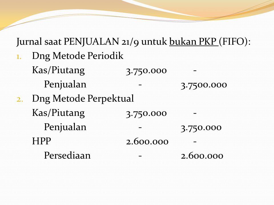 Jurnal saat PENJUALAN 21/9 untuk bukan PKP (FIFO):
