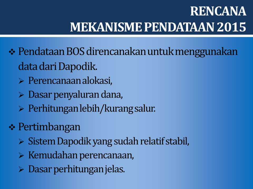 RENCANA MEKANISME PENDATAAN 2015