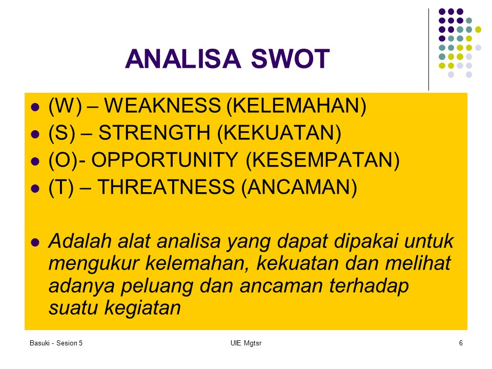ANALISA SWOT (W) – WEAKNESS (KELEMAHAN) (S) – STRENGTH (KEKUATAN)