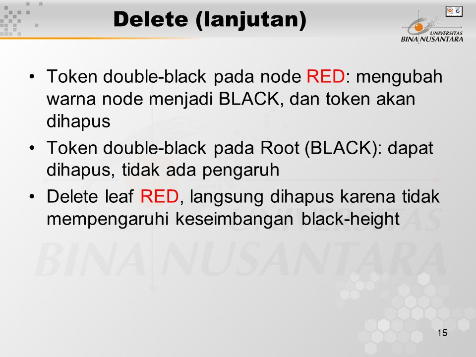 Delete (lanjutan) Token double-black pada node RED: mengubah warna node menjadi BLACK, dan token akan dihapus.