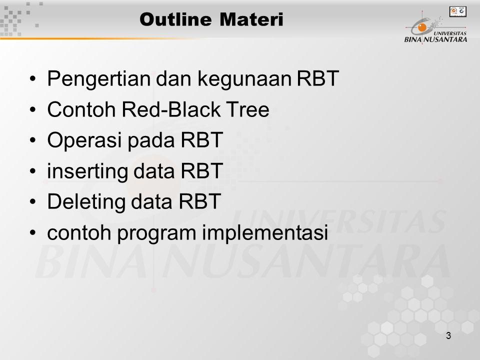Pengertian dan kegunaan RBT Contoh Red-Black Tree Operasi pada RBT