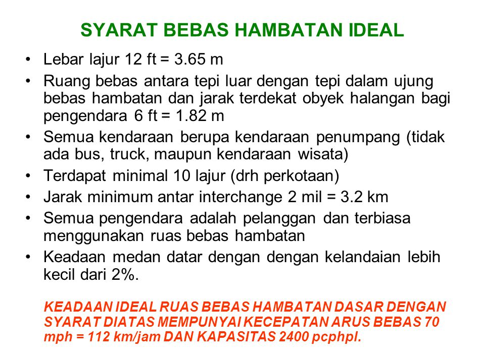 SYARAT BEBAS HAMBATAN IDEAL